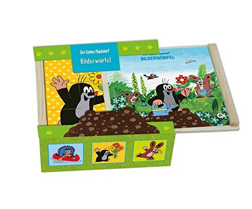 Trötsch Der kleine Maulwurf Bilderwürfel Holz, Würfelpuzzle Pauli, Puzzlespiele Mauli, Holzspielzeug für Kleinkinder