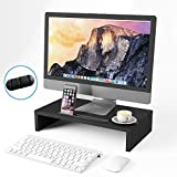 BAMEOS Monitor Stand Computer Riser Desk Organizer Stand Desktop Printer Stand for Laptop Computer Storage Shelf & Screen Holder 16.5 inches with Cable Management Phone Holder Black