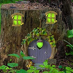 miniature fairy garden window door glow in the dark gnomes door elf pixie home outdoor yard tree decor fariy house