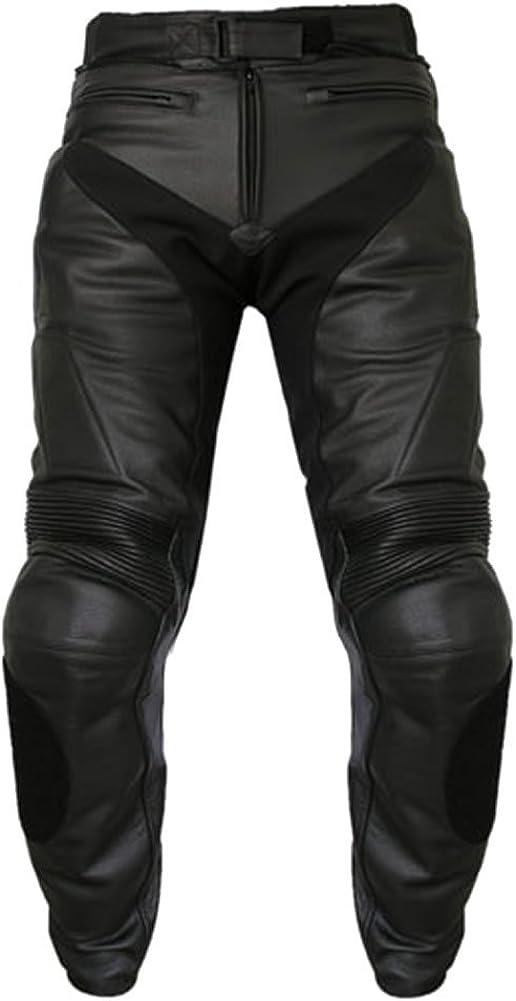 SleekHides Men's Fashion Racing Motorcycle Real Leather Pant