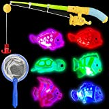 Liberty Imports Magnetic Light Up Kids Fishing Pole Bath Toy Set - Rod and Reel with Sea Turtle and 5 Unique Fish -Outdoor Water Toys and Fishing Game for Kids Age