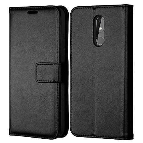 TECHGEAR Coque pour Nokia 3.2 - Housse Étui Portefeuille en Cuir avec Rabat de Protection, Fentes pour Cartes, Béquille et Dragonne, Faux Cuir PU Noir Compatible pour Nokia 3.2