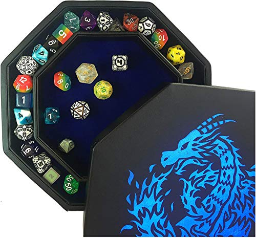 Fantasydice- Blue - Fire Dragon - Dice Tray - 8' Octagon with Lid and Dice Staging Area- Holds 5 Sets( 7 Dice Set/ Standard) for All Tabletop RPGs Like D&D , Call of Cthulhu, Shadowrun.