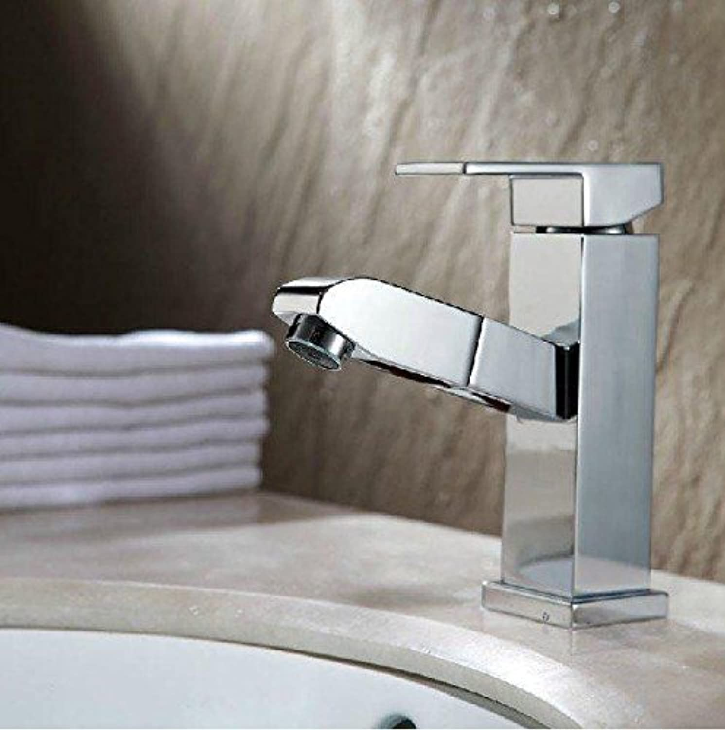 Hlluya Professional Sink Mixer Tap Kitchen Faucet All copper pull basin of hot and cold single handle single hole faucet, square pull-down +60cm Hose