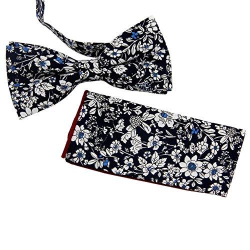 LLZGPZLD Tie/Cotton & Polyester Bloemen Strikjes Zakdoek Set Pocket Vierkant & Vlinder Handdoek & Bow Ties Voor Heren Pak Neckwear
