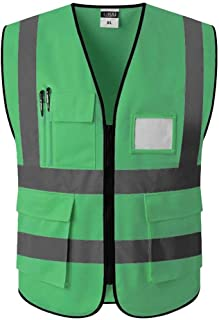 KODH Traffic Construction Overalls Reflective Vest Safety Reflective Vest Reflective Logo Printing Outdoor Riding Reflective Jacket (Color : Golden, Size : XL)