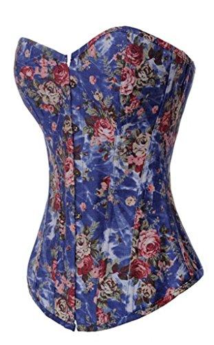 Alivila.Y Fashion Womens Vintage Denim Overbust Corset Bustier Top 2767-Blue-2XL