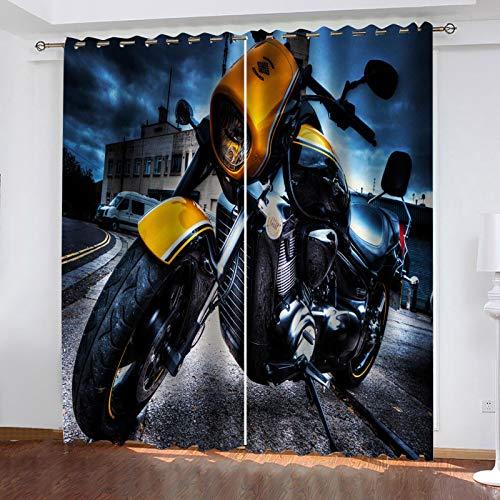 WLHRJ Cortina Opaca en Cocina el Salon dormitorios habitación Infantil 3D Impresión Digital Ojales Cortinas termica - 140x100 cm - Superbike