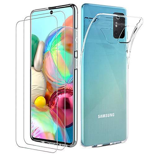 ILUXUS Klar Silikon Hülle für Samsung Galaxy A71 handyHülle mit Panzerglas, Galaxy A71 handyHülle transparent Ultra Silikon Bumper Cover TPU Ultra Slim Schutzhülle für Galaxy A71 Schutzfolie