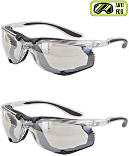 Magid Safety Y84BKAFIO Protective Glasses | Sporty Impact Resistant Clear Safety Glasses with a Removable Foam Liner & Black TPR Temples - UV Protection, Anti-Fog, Scratch Resistant (2 Pair)