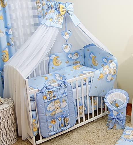 Bello - Juego de cama para bebé de 16 piezas, algodón (para cama de 60 x 120 cm, 16 piezas, oso de peluche y escaleras, color azul