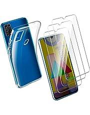 Leathlux Funda Compatible con Samsung Galaxy M31, 3 Pack Compatible con Protector de Pantalla Samsung Galaxy M31, Transparente TPU Silicona Funda y Cristal Vidrio Templado Protector de Pantalla