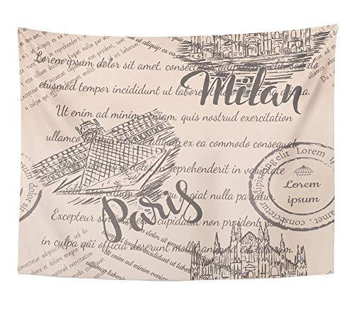 Tapices decorativos Tapestry Wall Hanging Architecture Faded Text Milan Cathedral Lettering The Louvre Paris on Beige 60