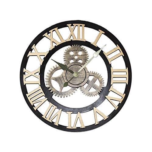 Reloj de Pared Redondo Retro Mudo Reloj de Pared de Madera Retro Reloj de Pared Decoración de Viento Industrial Sala de Estar Dormitorio Bar Oro Número Romano Decoración Regalo sin batería 5
