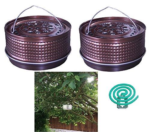 Hs24store 2X Metalltopf Halter Bronze für Anti Mückenspirale wie Tontopf +20 Spiralen