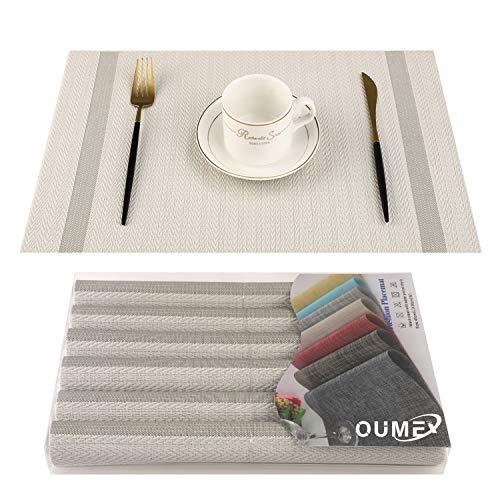 OUME Tischsets Abwischbar 6er Set Platzset Abwaschbar PVC rutschfest Abgrifffeste Hitzebeständig Platzdeckchen für Zuhause Restaurant, 30 x 45cm ( Beige)