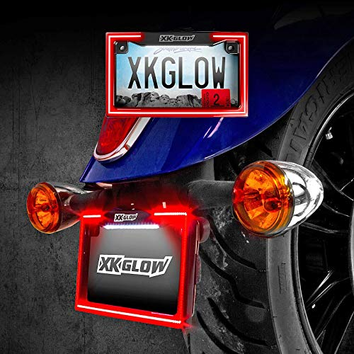 XKGLOW XK034018-W Motorcycle Led License Plate Frame with Running Turn and Brake, White