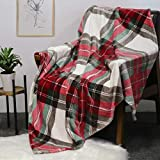 HOMRITAR Throw Blanket with Plaid, Ultra Soft Flannel Blanket Warm Bed Blanket fit Sofa and Couch (50 x 60 inch, Red)