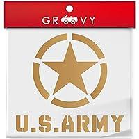 米軍 US アーミー ver2 ミリタリー 車の給油口ステッカー ARMY 星マーク ドレスアップ_mili007 (ゴールド)