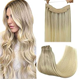 GOO GOO Hair Extensions Halo Hair Ombre Ash Blonde to Golden Blonde Mixed Platinum Blonde 12 Inch 70g Hairpiece Remy…