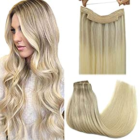 GOO GOO Human Hair Extensions Halo Hair Extensions Ombre Straight Remy Flip Hair Extensions Invisible Crown Hairpiece Hidden Wire Extensions