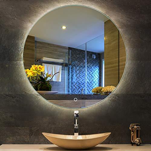 YiYi Bathroom mirror Espejo de baño Iluminado, Redondo sin Marco con luz LED Blanca/luz cálida, Sensor táctil + desempañador, tamaño 5