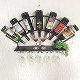 QING MEI-Estante del vino Colgante De Pared Estante De Vino Simple Moderno Colgante De Pared Gabinete De Vino Vinoteca Estante Ventilador Forma 83x13x40cm A+