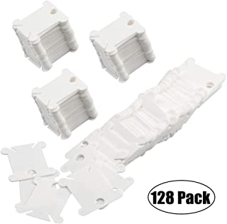 MXRS 128 Pcs Plastic Floss Bobbins for Cross Stitch Embroidery Cotton Thread Craft DIY Sewing Storage(White)