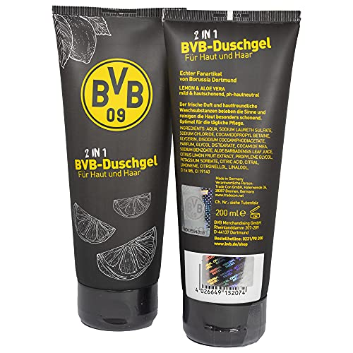 Borussia Dortmund 2in1 Duschgel Lemon/Aloe Vera für Haut und Haar, Hair & Body Showergel BVB 09