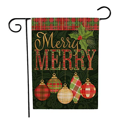 Xaviera Burlap Double Sided Winter Garden Flags Merry Christmas Garden Flag Xmas New Year Outdoor Flag, 17.7 * 11.8'' Inch