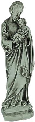 Saint Joseph Holding Baby Jesus Marble Look Statue