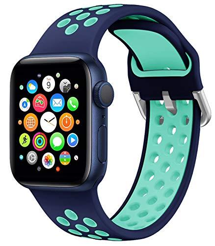 HLTEK Correa Compatible para Apple Watch 44mm 42mm 40mm 38mm, Suave Silicona Reemplazo Pulseras para iWatch Series 6/5/4/3/2/1/se