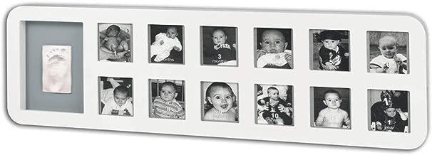 Baby Art 34120085 - Marco para fotos recuerdo del primer año con material para huella de mano o pie, madera, color blanco y gris