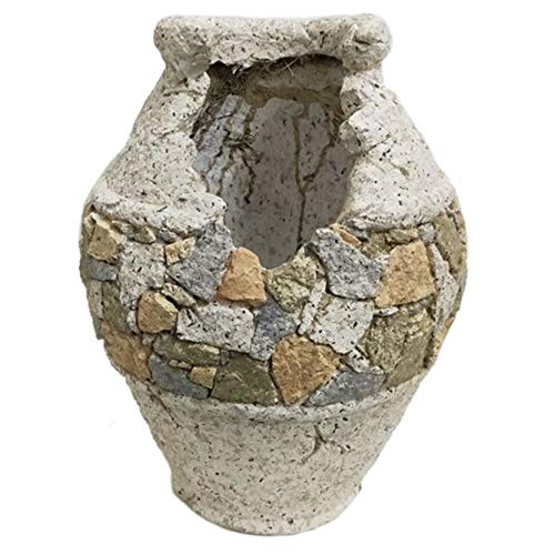 Macetero de jardín imitación piedra con forma de Vasija, Figuras Resina I Modelo: 0211876 I Macetero Exterior e Interior I Macetero para escritorio, estantería, mesa de comedor I Macetero decorativos