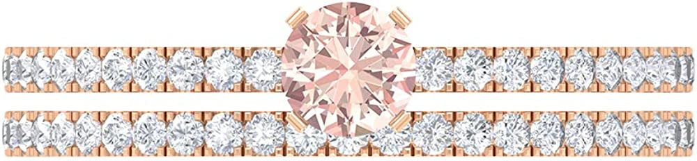 1 CT Lab Created Morganite Solitaire Moissanite Weddin Fixed price for sale Mail order with Ring
