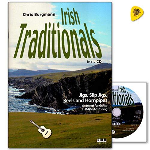Irish Traditionals - Jigs, Slip Jigs, Reels und Hornpipes arrangiert für Gitarre in DADGAD Stimmung - Notenbuch mit CD, Plek