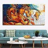 Geiqianjiumai Buntes laufendes Pferdplakatölgemälde und druckt Hauptdekorationsmalerei-Wandbild auf Wohnzimmer-Leinwandfamilienplakat rahmenloses Gemälde 20X40CM