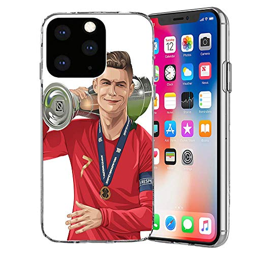 MIM Global Football Futbol Soccer Protectores Case Cover Compatible para Todos iPhone (iPhone 12 Mini, Cr7 Portugal)
