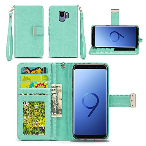 Samsung Galaxy S9 Case - IZENGATE [Classic Series] Wallet Cover PU Leather Flip Folio with Stand (Mint)