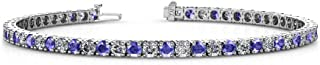 Gemstone and Diamond 2.9mm Womens Eternity Tennis Bracelet 14K White Gold