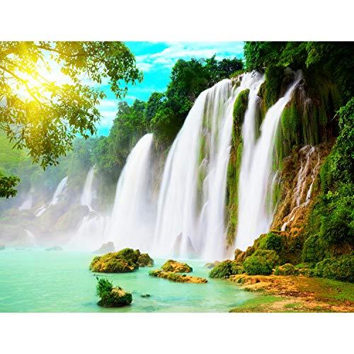 Fototapeten 396 x 280 cm Wasserfall Natur | Vlies Wanddekoration Wohnzimmer Schlafzimmer | Deutsche Manufaktur | Grün Weiss 9006012b