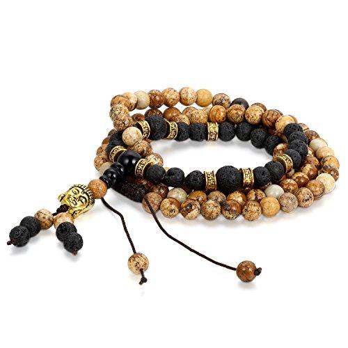 Cupimatch 6mm Damen Herren Zen-Buddhismus Armreif Energie Therapie Energiestein Lavastein Wurzel Chakra Yoga Buddha-Armband Halskette, Verstellbare Größe, Schwarz