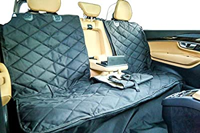 Plush Paws Velvet Back Seat Cover with Console Access and Detachable Hammock (Black)
