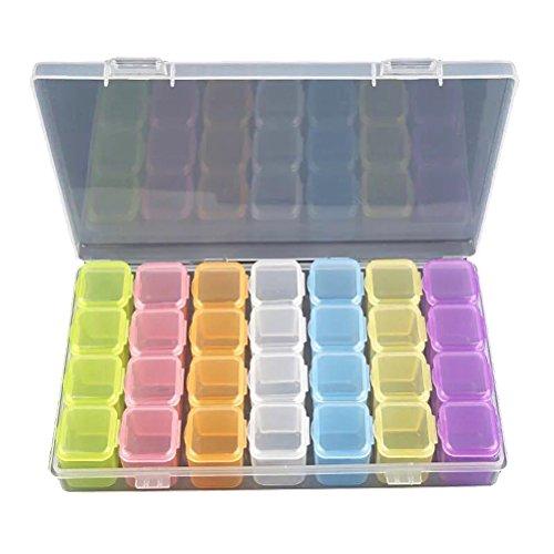 BESTOMZ Caja de Almacenamiento con 28 Compartimentos de Plástico para Guardar Joyas Cuentas Bolillos Bobinas (Multicolor)