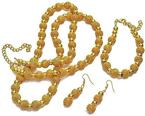 NC190 Collar de Perlas de 82 cm y Pulsera de 24 cm y Pendientes esféricos Aptos para Mujer Conjunto de Fiesta de Collar esférico Dorado de Moda