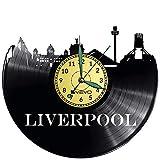 City Liverpool - Reloj de pared de vinilo con disco de vinilo, diseño retro, ideal para decorar el hogar, ideal como regalo para novio, hombre, vinilo, decoración para el hogar, pared inspiradora