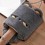 Mauspad aus Plüsch, Cartoon-Design, USB-beheizt, verdicktes Handwärmer-Pad, Graukatze, 23x25cm