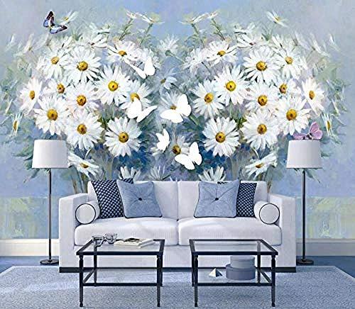 Flower Chrysanthemum Heart Shaped Butterfly Wandbilder Tapete wandpapier fototapete 3d effekt tapeten Wohnzimmer Schlafzimmer kinderzimmer-300cm×210cm
