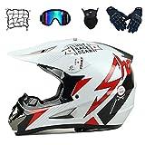 WLBRIGHT Jóvenes Downhill Casco Regalos Gafas Gafas Máscara Guantes Net Pocket BMX MTB ATV Carrera de Bicicleta Casco Integral de Cara Completa,L