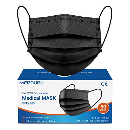 Mundschutz Masken schwarz 50 Stück, Einweg Medizinische Gesichtsmaske, 3-lagig Mund-Nasen-Masken mit Ohrschlaufen und Nasenstreife, Mundschutz Maske Unisex